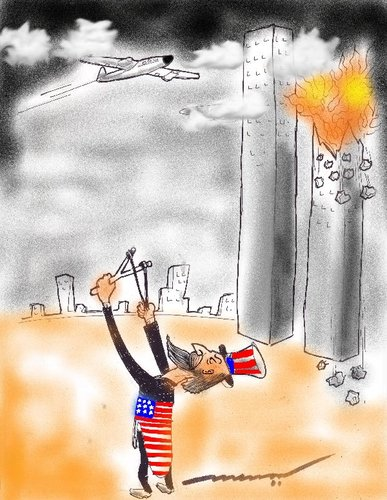 Cartoon: On September 11 (medium) by kar2nist tagged nightmare,american,centre,trade,world,attack,rterrorists,11,september