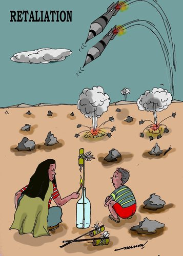 Cartoon: Retaliation (medium) by kar2nist tagged warfare,europe,rockets,childhood