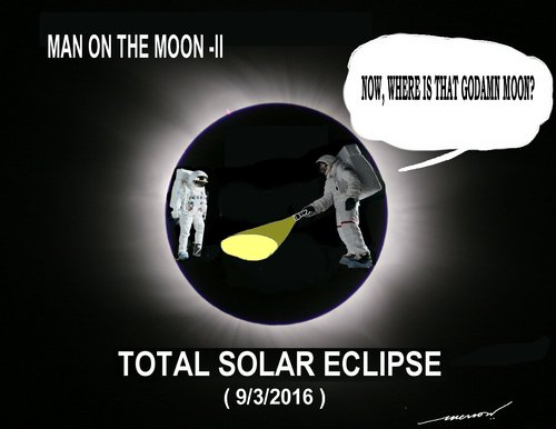 Cartoon: Total SOALR ECLIPSE (medium) by kar2nist tagged solar,eclipse,total,moon,launch
