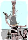 Cartoon: a last sip of wine (small) by kar2nist tagged last,wishes,wine,hanging,scaffold