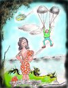 Cartoon: Bravo Man (small) by kar2nist tagged parachute,bravo,bra,flyaway,man,woman