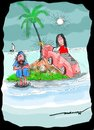 Cartoon: caroooooned! (small) by kar2nist tagged marooned,island,shipwreck,sea,cars