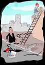 Cartoon: From Frying Pan to Fire (small) by kar2nist tagged superstitions,ladder,manhole