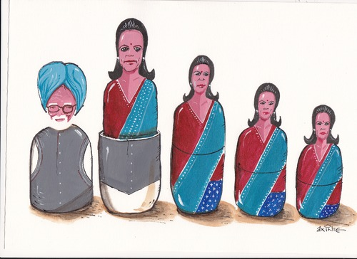 Cartoon: Manmohan Singh and Sonia Gandhi. (medium) by axinte tagged axi