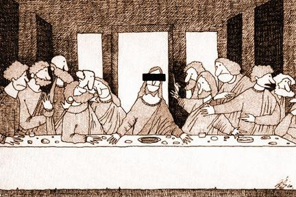 Cartoon: Censorship superstar (medium) by Gelico tagged last,supper,jesus,censorship,humour,cuba,canada,gelico