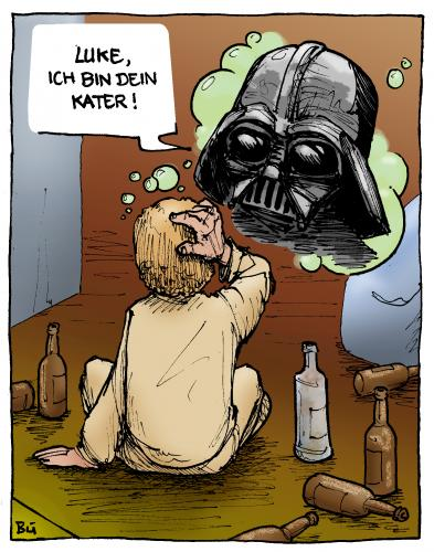 Cartoon: Episode 7 - Brand im Morgentau (medium) by Bülow tagged star,wars,darth,vader,krieg,sterne,alkohol,drunk,krieg,star wars,luke skywalker,darth vader,alkohol,alkoholkonsum,rausch,sterne,star,wars,luke,skywalker,darth,vader