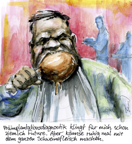 Cartoon: Klingt ziemlich future (medium) by Bülow tagged präimplantationsdiagnostik,diagnosttik,fleisch,schweinefleisch,diagnostik,fleisch,schweinefleisch,präimplantationsdiagnostik