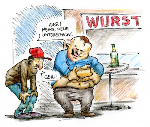 Cartoon: Prekariat (medium) by Bülow tagged unterschicht,imbiss,speck,fett,fat,bierbauch,unterschicht,proletariat,arbeitslos,arbeitslosigkeit,imbiss,imbissbude,übergewicht,fett,bierbauch,alkoholiker,trinker,trinkermillieu