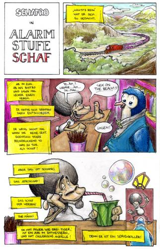Cartoon: Schafro auf Reisen - S. 1 von 4 (medium) by Bülow tagged schaf,sheep,killer,cocktail