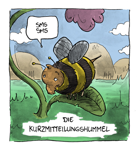 Cartoon: Shortmessagebumblebee (medium) by Bülow tagged bumblebee,hummel,sms,handy,mobile,short,message,shortmessage,natur,nature,animalstiere,tierwelt,fauna,insekt,insect,insekten,insects,bumblebee,hummel,sms,handy,mobile,short,message,insekten,fauna,tierwelt,natur,telefon,mobiltelefon,technik,fortschritt,entwicklung,kommunikation,austrausch,nachrichten,tiere,tier,sounds