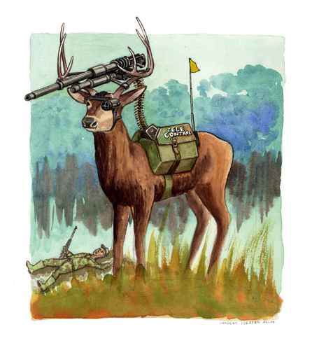 Cartoon: Caccia sportiva (medium) by Niessen tagged defence,gun,deer,hunting,forest,competition