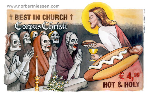 Cartoon: Corpus Christi (medium) by Niessen tagged religiöse,bischof,priester,homosexuelle,unrein,tunika,beten