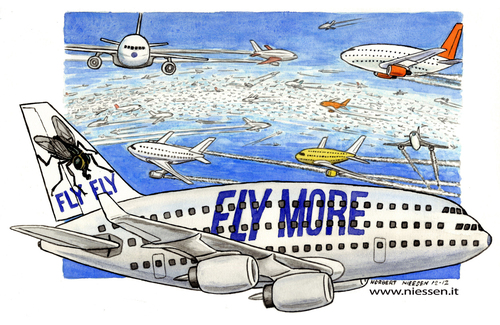 Cartoon: Fly more (medium) by Niessen tagged travel,airplane,tourism,sky,lowcost