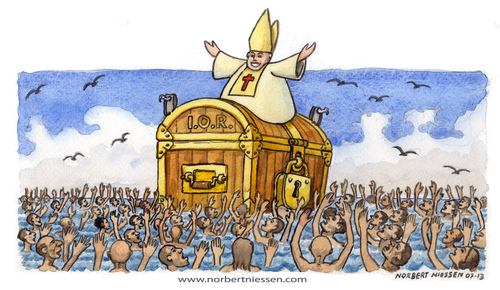 Cartoon: Il papa a Lampedusa (medium) by Niessen tagged papa,mare,isola,profughi,cassaforte,banca,tesoro,saluto,pope,sea,island,refugees,safe,bank,treasure,greeting,papst,meer,insel,flüchtlinge,sicher,schatz,gruß