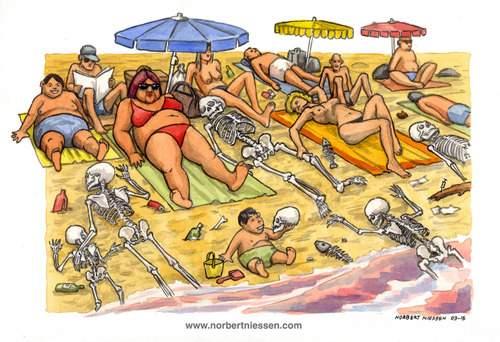 Cartoon: Mare nostrum (medium) by Niessen tagged sea,sun,summer,skeletons,bones,bathers,immigrants,dead,illegals