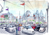 Cartoon: Bump Beijing (small) by Niessen tagged bump,cars,traffic,beijing,china,electricity
