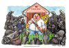 Cartoon: Casa mia (small) by Niessen tagged blacks,immigrants,monsters,fear,family,danger,rifle,aggression,defense