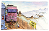 Cartoon: Great Wall (small) by Niessen tagged traffic,jam,china,great,wall,trucks,carbon,energy