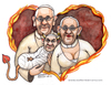 Cartoon: The pope family (small) by Niessen tagged papa papessa diavolo amore cuore fuoco bambino pope popess devil love heart fire child papst päpstin teufel liebe herz feuer kind