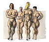 Cartoon: X-treme body (small) by Niessen tagged women,muscles,aggressive,naked,newton,photographer