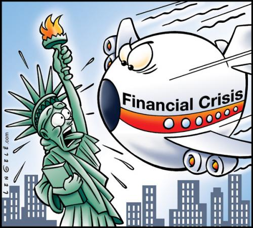 Cartoon: Crisis (medium) by Carayboo tagged crisis,ny,plane,liberty,money,cash,dollar,terrorist,policy,finance