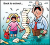 Cartoon: Back to School (small) by Carayboo tagged back,school,year,vacation,work,september,fall,price,list,books,money,cry,water