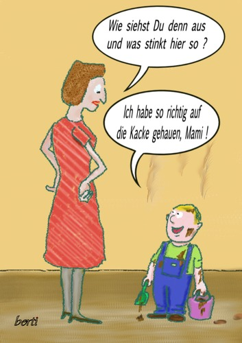 Cartoon: Kindermund (medium) by berti tagged spielen,kacke