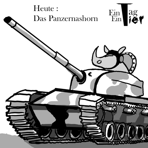 Cartoon: Das Panzernashorn (medium) by Mistviech tagged tiere,natur,nashorn,panzer,panzernashorn