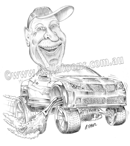 Cartoon: Bills Pontiac ute (medium) by kullatoons tagged pontiac,ute,car,caricature