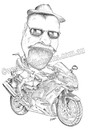Cartoon: Russ and his Kwaka Ninja (small) by kullatoons tagged kawasaki,caricature,motorbike