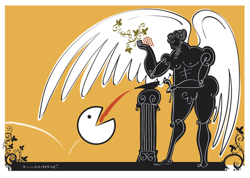 Cartoon: PacWine (medium) by Herme tagged icarus,wine,pacman