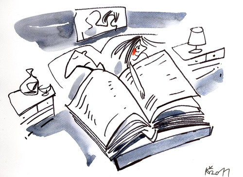 Cartoon: BOOK (medium) by Kestutis tagged sexuality,love,woman,man,bed,night,book
