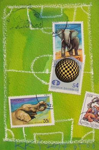 Cartoon: Elephant soccer and the judge (medium) by Kestutis tagged elephant,soccer,judge,kestutis,lithuania,dada,mail,art,postcard,football