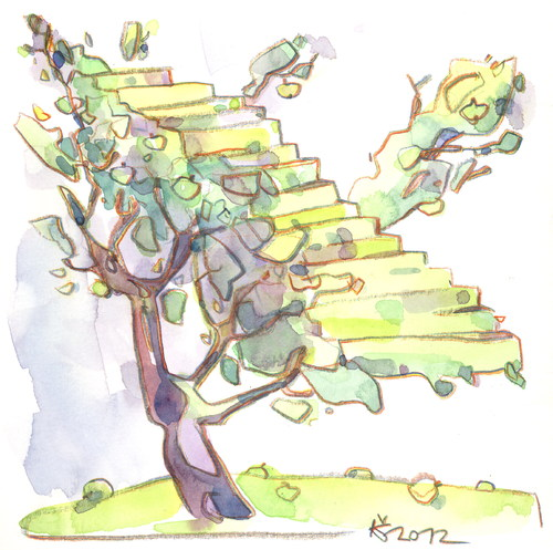 Cartoon: Montmartre apple tree (medium) by Kestutis tagged baum,treppe,stairs,lithuania,siaulytis,kestutis,tree,apple,montmartre