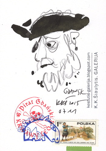 Cartoon: Pirat Gdanski (medium) by Kestutis tagged gdansk,lithuania,kestutis,pirate,sketch,postcard,dada