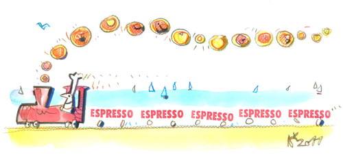 Cartoon: Pizza - espresso 2 (medium) by Kestutis tagged italy,pizza,pizzapitch,kestutis,travel,summer,train,cook