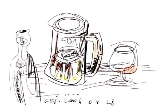 Cartoon: STREET CAFE (medium) by Kestutis tagged cafe,sketch