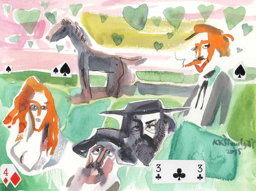 Cartoon: Three friends (medium) by Kestutis tagged friend,cards,kestutis,lithuania,dada,kunst,art,valentinstag,watercolor,love,valentine,aquarell,western,cowboy,man,woman
