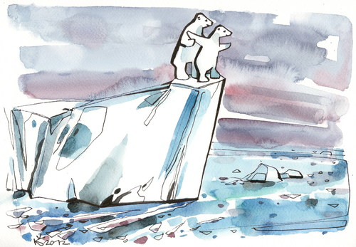 Cartoon: TITANIC 2012 (medium) by Kestutis tagged iceberg,arctic,ocean,titanic,polar,bear,nature,animal