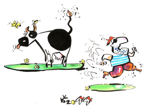 Cartoon: WHAT FEARED PIRATE? (medium) by Kestutis tagged pirate,adventure,happening,cow,bomb