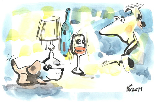 Cartoon: WINE AND NIGHT (medium) by Kestutis tagged trust,hope,reflections,glass,night,wine,novel