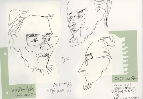 Cartoon: Writer Alfonsas Tekorius (medium) by Kestutis tagged sketch,kestutis,lithuania