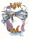 Cartoon: BANK OWL (small) by Kestutis tagged bank owl money banknote