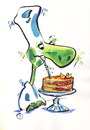 Cartoon: CAKE WITH RUM (small) by Kestutis tagged turtle,cake,rum,kestutis,siaulytis,adventure,chef,food,pirate,strip