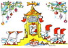 Cartoon: Geese pace up to Santa Claus (small) by Kestutis tagged geese santa claus winter christmas weihnachten stockings kestutis lithuania adventure
