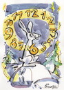 Cartoon: HARE - CLOCK (small) by Kestutis tagged hare,animal,clock,winter,hours,hase,nature