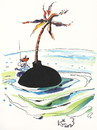 Cartoon: Pirate desert island (small) by Kestutis tagged pirate desert island kestutis lithuania turtle adventure palm meer sea ocean