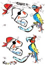 Cartoon: PIRATE SCARF AND A PARROT (small) by Kestutis tagged pirate,parrot,scarf,adventure,happening
