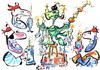 Cartoon: PIRATES CHRISTMAS TREE (small) by Kestutis tagged happy,new,year,pirates,christmas,tree,fiesta,feast,fest,adventure,happening