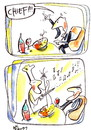 Cartoon: PIZZA AND MUSIC (small) by Kestutis tagged pizza,music,cook,chief,string,scores,wine,restaurant,tavern